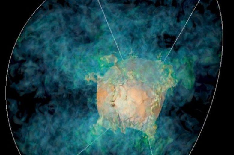 3D-model koji ilustruje agoniju supernove