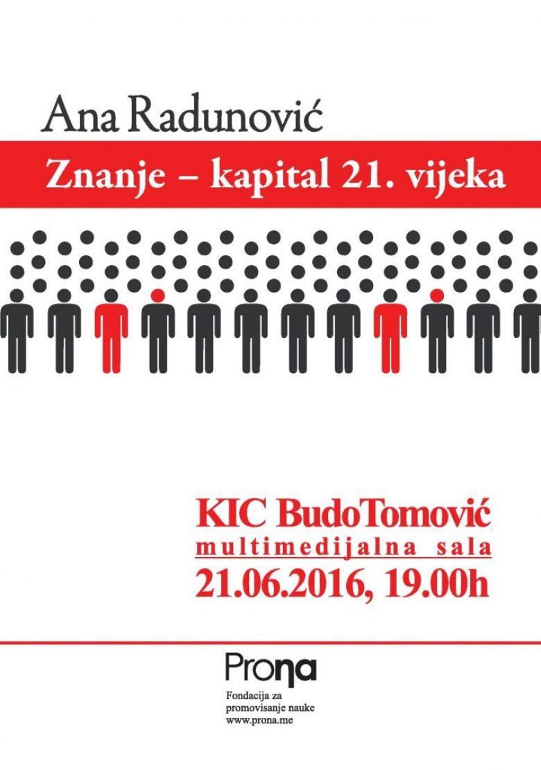 Promocija knjige Znanje – kapital 21. vijeka autorke Ane Radunović